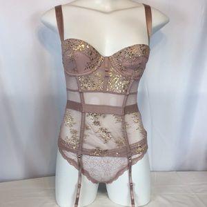 Victoria's secret shine lace bustier set 32B /S